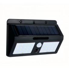 LED соларен двоен аплик 6W 6500K черен със сензор