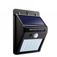 Соларен LED аплик 3W 6500K черен със сензор